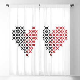 Black and red heart Blackout Curtain