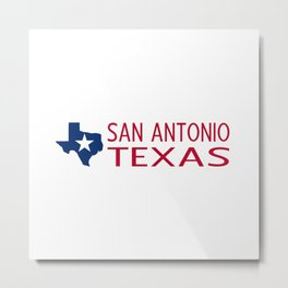 Texas: San Antonio (State Shape & Star) Metal Print
