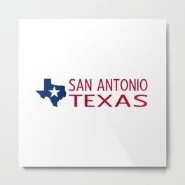 Texas: San Antonio (State Shape & Star) Metal Print