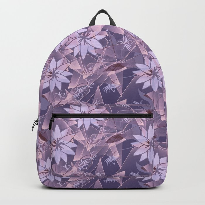 The floral pattern. Lilac flowers on abstract background. Backpack