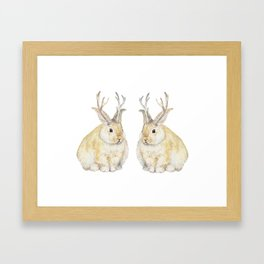 Watercolor Grumpy Jackalope Antler Bunny Framed Art Print