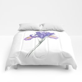 Iris 03 Botanical Flower * Lavender Purple Dutch Iris Comforters