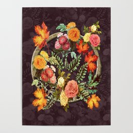 Autumn Flowers and Leaves Poster