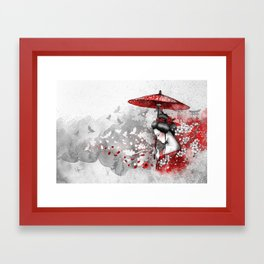 Falling blossoms Framed Art Print