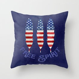 American Flag Stars and Stripes Free Spirit Feather Throw Pillow