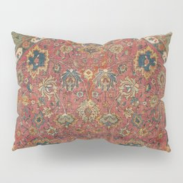 Persian Medallion Rug IV // 16th Century Distressed Red Green Blue Flowery Colorful Ornate Pattern Pillow Sham