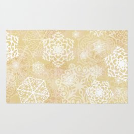 Snowflakes - Gold Rug