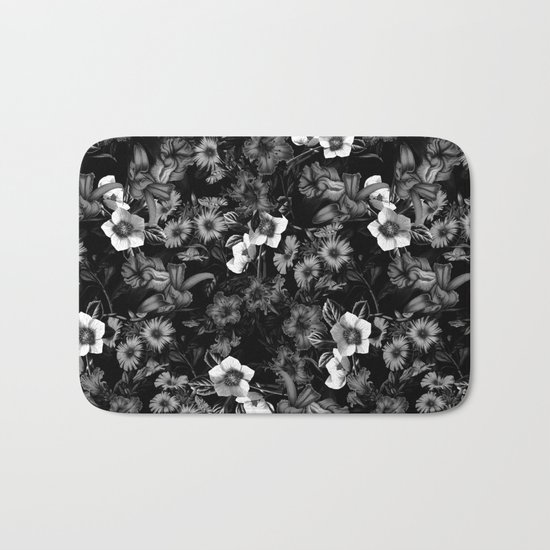 Black and White Floral Pattern Bath Mat