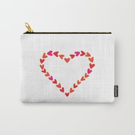 Red watercolor hand drawn hearts. Carry-All Pouch
