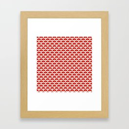 Exotic Red Chinese Dance Fans Pattern on White Framed Art Print