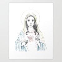 lana del rey Art Prints featuring Mary Del Rey by Mayumi Atanacio