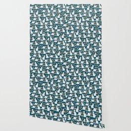 Romantic cat pattern Wallpaper