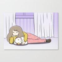 puppycat Canvas Prints featuring My Puppycat by Annemator