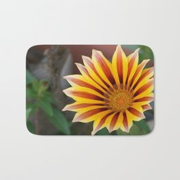 Close Up Tiger Gazania in Red, Gold and Green  Bath Mat