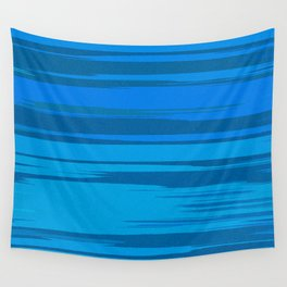 Blue Sea Abstract Cloud Stripes Wall Tapestry