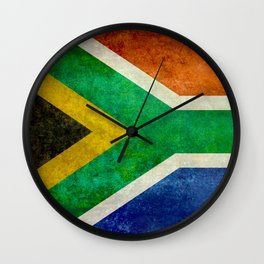 Flag of South Africa - Vintage Banner version Wall Clock