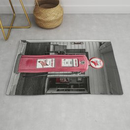 Vintage Route 66 Antique Fire Chief Red Gas Pump Rug