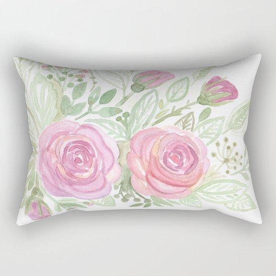 Watercolor . A bouquet of roses . Rectangular Pillow