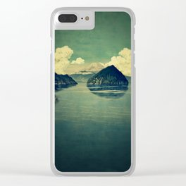 Distant Blues Clear iPhone Case