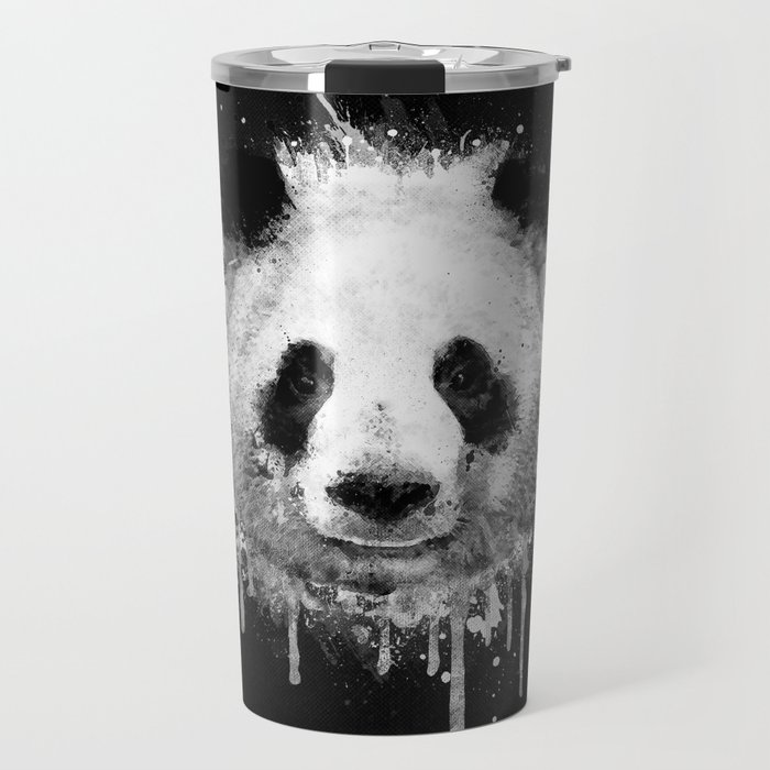 Cool Abstract Graffiti Watercolor Panda Portrait In Black White Travel Mug