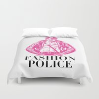 police Duvet Covers featuring FASHION POLICE by Christopher Lee Sauvé