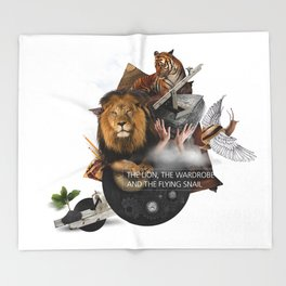 THE LION, THE WARDROBE AND THE FLYING SNAIL (Totem of the Lion) Throw Blanket