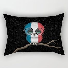 Baby Owl with Glasses and French Flag Rectangular Pillow