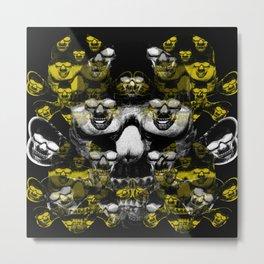 Gold and silver skulls Metal Print