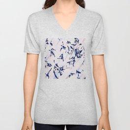Blue Splatter Painting Pattern Unisex V-Neck