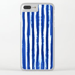 Blue and white Stipes Clear iPhone Case