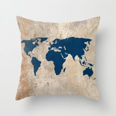 Rustic World Map Throw Pillow