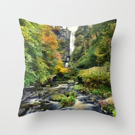 Pistyll Rhaeadr Waterfall , North Wales, United Kingdom, landscape Photography Throw Pillow
