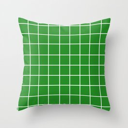 Grid (White/Forest Green) Throw Pillow