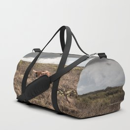 Stare Down - A Texas Bull in the Mesquite and Cactus Duffle Bag