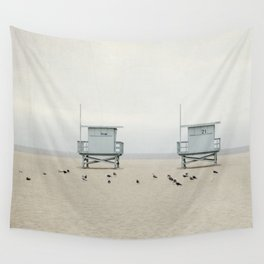 Lifeguard Towers with Birds Wall Tapestry