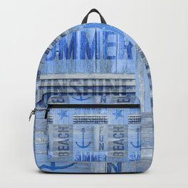 Blue Summer Beach Wood Backpack
