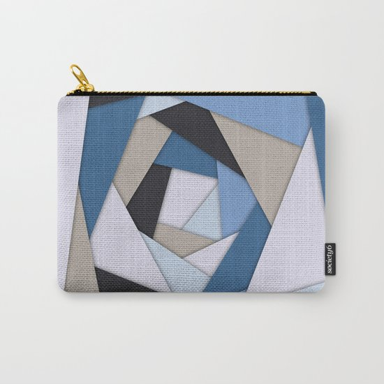 Abstract Blues Geometric Layers Carry-All Pouch
