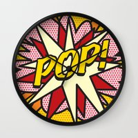 comic book Wall Clocks featuring Comic Book POP! by The Image Zone