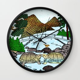 Love of a Turtle River Wall Clock