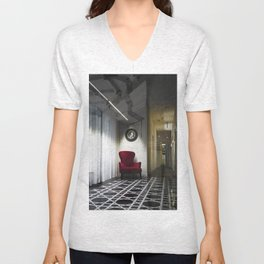 Interior with red armchair Unisex V-Neck