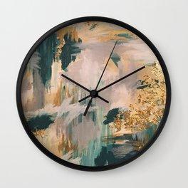 Teal and Gold Abstract- 24K Magic Wall Clock