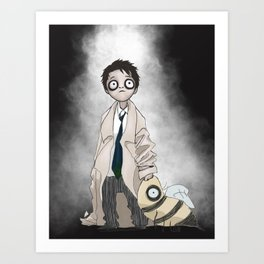 Burtonesque Toddler Castiel Art Print