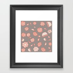 floral black and red Framed Art Print