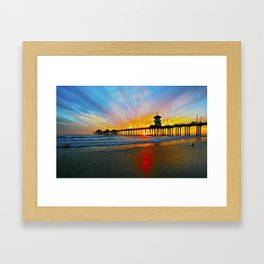 Sunset Huntington Beach Pier   Framed Art Print
