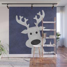 Christmas reindeer blue marble Wall Mural