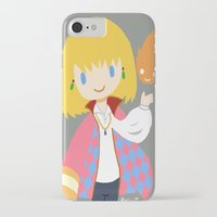 calcifer iPhone & iPod Cases featuring Howl and Calcifer by Mayying