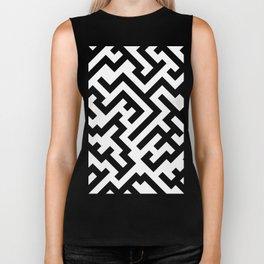 Black and White Diagonal Labyrinth Biker Tank