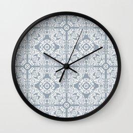 Mediterranean Tiles In Blue / Grey & White Wall Clock