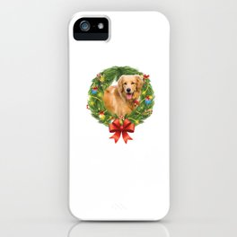 Golden Retriever Christmas Wreath Dog Lovers iPhone Case
