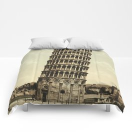 Vintage Leaning Tower of Pisa Photograph (1900) Comforters